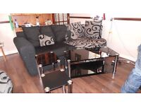 black glass and chrome 3 tier tv stand matching coffee table and 2 occasional tables