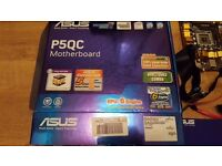 Asus Motherboard P5QC Socket 775 for QUAD Processors and lower. Very FAST. Original Box + extras P45