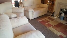 Sofa Suite Lovely Cream Coloured Faux Suede 2 seater and 2 armchairs (very little used)