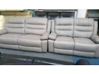 Grey real leather 3+2 seater sofa