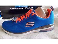 Mens Skechers Air Cooled Memory Foam Trainers Blue Orange Size UK 10.5 - BRAND NEW