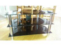 Glass 3 shelf TV stand