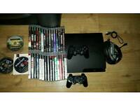 PS3, 2 pads, 33 games & turtlebeach headset