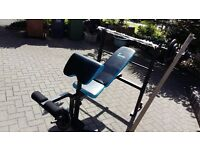 MENS ACTIVE WEIGHTS BENCH & 6FT BAR & OVER 50KG CAST IRON WEIGHTS