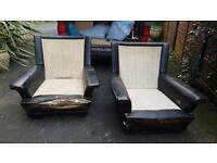 Pair of armchairs designed Howard Keith mid-century retro vintage chairs 1950s 1960s spaceage