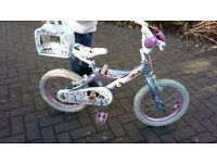 Girls peddle pet puppy bike, frame size 16 inch, age 5-6 years