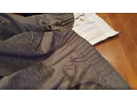 Pair of professionally made lined curtains. Unused. 3 inch tape header. Silver grey Chenile