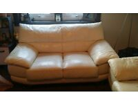 2 & 3 seater white leather sofa