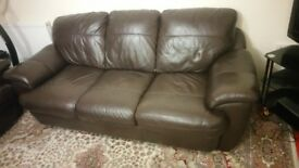Brown Leather Sofa complete set
