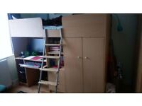 Cabin bed/mid sleeper bed with wardrobe and desk