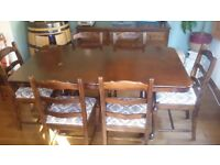 Larkswood solid oak table and 6 chairs