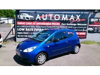2008 MITSUBISHI COLT 1.1 CZI 3 DOOR HATCH IN BLUE MAY 2018 MOT 82K WITH S/HISTORY CD E/W R/C/L PLUS