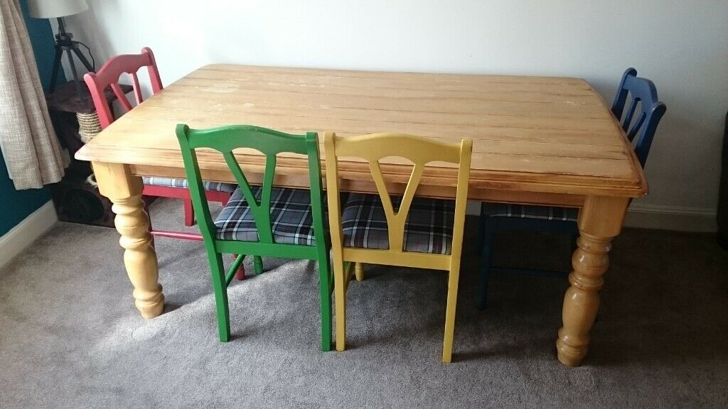 Solid Wood Farmhouse Style Dining Table with Four Chairs ...
