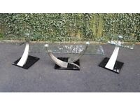 Glass Coffee Table and Side Table