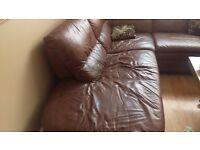 Large Chocolate Coloured Corner Sofa Available Immediately