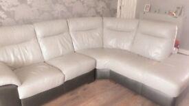 2yr old DFS grey/black leather sofa