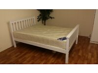 DOUBLE WHITE WOODEN BED COMPLETE WITH ORTHOPAEDIC POCKET SPRUNG MATRESS
