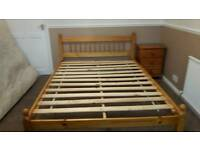 Double bed with head board, plus mattress for sale