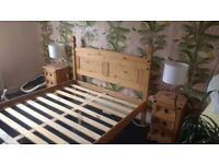Wooden double bed frame, Mexican Corona style, solid pine