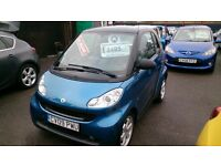 LOW MILEAGE 2009 SMART FORTWO 1.0L PULSE SEMI AUTO BLUE ONLY 36K WITH F/S/H JULY MOT CD ALLOYS E/W +