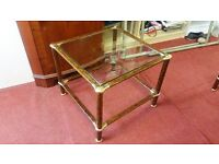 Coffee Tables - Quality Brown Wood Effect Metal Frame and Clear Glass Coffee Table