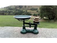 Vintage Cast Iron Kitchen Scales and Weights by Lewis's