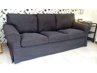3 Seater Ikea Black Ektorp Sofa - As New
