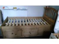 Wooden bed frame 3 large drawers