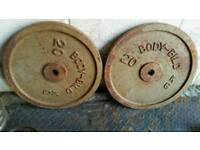 2 x 20kg Body-Bild caste iron weight plates