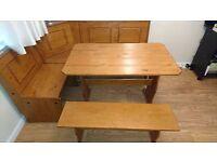 Corner Dinning Table & Bench ( Pine )