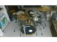 Tama superstar efx vintage nickel sparkle 4 piece drum set