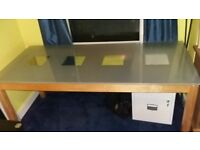 Large glass dining table and 4 chairs