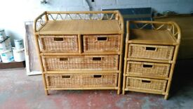 Bamboo and wicker chest of drawers and bedside cabinet excellent condition suitable for child's room