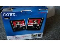 "Coby TFDVD7751D 7"" twin screen portable dvd player with USB and SD card slot"