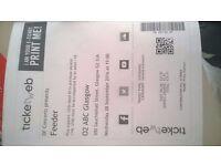 Feeder tickets x 2 for Glasgow O2 ABC TONIGHT