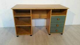 Pine Effect Desk with Green Drawers