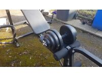 Adjustable weight lifting bench, set of dumbbells with approx 40kg in plates