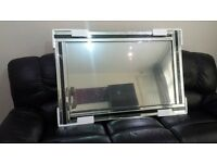 "Fiorina Black Glass Framed Rectangle Bevelled Wall Mirror 4FT x 2.66FT or in inch 48""x 32"" X Large"