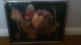 RUSSIAN OIL ONE OFF PAINTING YAGODKA BERRY GIRL ON LEAVES WITH GLASS SOLID WOOD FRAME