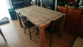 Chunky solid pine table + 4 chairs