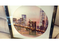 Sunset City Mounted Round Picture