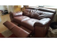 Leather Reclining Suite - as new condition