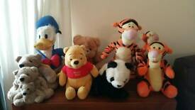 Assorted stuffed toys .