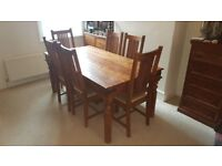 John lewis maharani sheesham wood dining table and 6 chairs