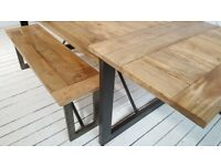 Hardwood Oak Style Extendable Rustic Metal Industrial Dining Table - Seats up to Twelve People
