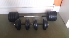 Barbell, dumbells and 47kg of weights - great value