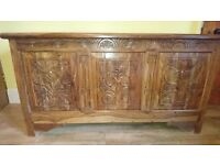 Oak Coffer Chest with Three Carved Panel Front