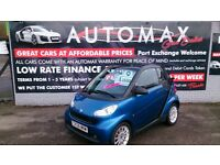 2008 SMART FORTWO PASSION 1.0L SEMI AUTO CONVERTIBLE MET BLUE NEW MOT 81K F/S/H ALLOYS CD E/W R/C/L