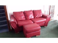 3 piece leather suite for sale- £490 - 3 seater, 2 seater, 1 armchair and a footstool