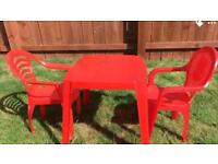 Kids plastic table with 2 chaits